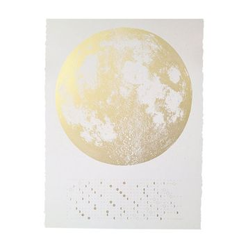 Moon Phase Print - White/Gold