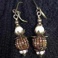 Pearl and Crystal Drop Bauble Earrings: Antique Brass Accents, Striking Glass Seed Bead Balls & Pearls, Crystal Cuffs, Gift for Her OOAK