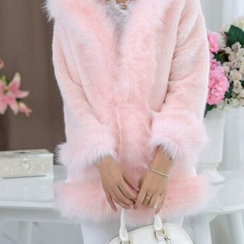 New Pink Patchwork Faux Fur Pockets Hooded Fashion Outerwear