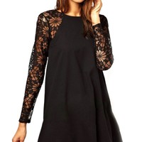 Lace Paneled Mini Dress - OASAP.com