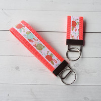 floral Key FOB / KeyChain / Wristlet  - metallic gold key chain - bridesmaid - friend gift - coworker - finger fob neon coral