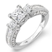 2.25 Carat (ctw) 14k White Gold Princess & Round Diamond Ladies 3 Stone Engagement Bridal Ring 2 1/4 CT