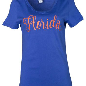 Official NCAA University of Florida Gators The Orange and Blue GATOR NATION! Women's Short Sleeve Lex Span V-Neck