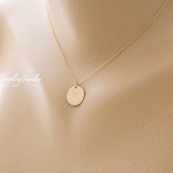 Custom Initial Disc Necklace, LARGE Gold Charm, Minimal Jewelry, Monogram Necklace, Bridesmaid Jewelry, Bridesmaid Gift, New Mom, Children