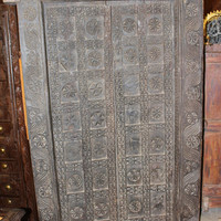 18c temple altar Antique Old Carved Door Traditional indian Teak Wood Double Door Old Eclectic Decor FREE SHIP