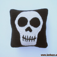 Small Black Skull Pillow, decorative crochet throw pillow with skull applique, ready to ship.