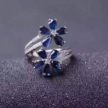 Natural Blue Sapphire Ring Sterling Silver Engagement CZ Ring HQ014