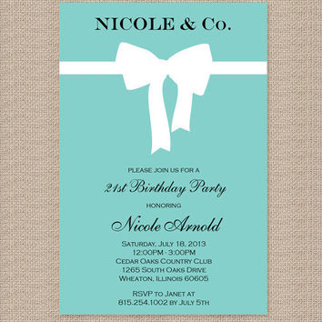 Tiffany Birthday Party Invitations - Inspired by Tiffany Blue Box
