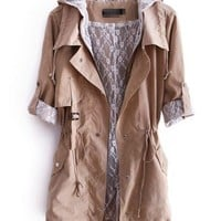 Hooded Long Sleeve Windbreaker Beige$50.00