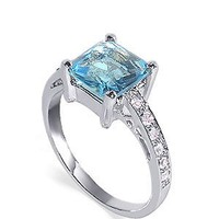 925 Sterling Silver 10mm Square Aqua Color Cubic Zirconia Solitaire with Accents Ring