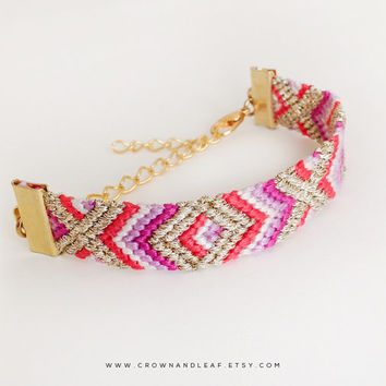 Moroccan / XO / Gold Chain Friendship Bracelet / Woven Bracelet / Red White Purple and Gold / Gold Chain Bracelet / Tribal Bracelet