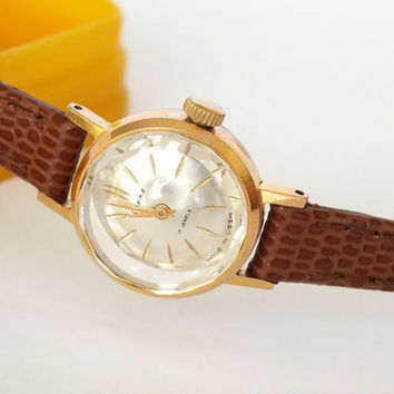 Womens wristwatch. Womens watch Chaika gold plated. Vintage ladies cocktail watch. Delicate watch for women from 70s. Gift for her.