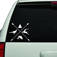 Dabbledown Decals Outdoor Life Arrows and Animals Design White Version Car Window Windshield Lettering Decal Sticker Decals Stickers