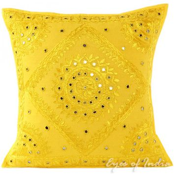 "20"" Yellow Pillow Cushion Cover"