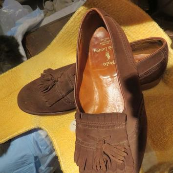 retro Polo Ralph Lauren brown suede LEATHER KILTIE Tassel loafer Bench made in