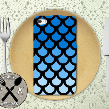Blue Mermaid Scales Ombre Tumblr Inspired Fish Cute Rubber Tough Case For iPhone 4/4s and iPhone 5 and 5s and 5c and iPhone 6 and 6 Plus +