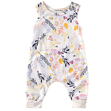 Summer Cute Infant Baby sleeveless Romper Toddler Kids Boy Girl Floral Romper Playsuit Clothes Outfit