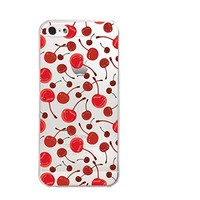 Cherry Pattern Transparent Silicone Plastic Phone Case for iphone 5/5S/5C _ LOKIshop (iphone 5)