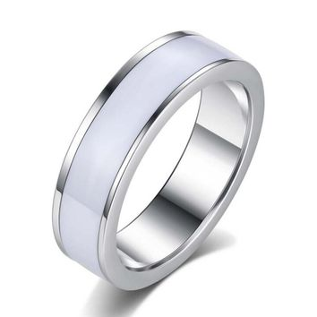 New Fashion Weeding Rings Stainless Steel White Rings Titanium Steel anillos For Women Men Jewelry R178