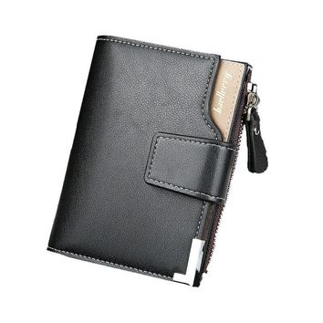 New Issue In 2018 Men PU leather Wallet Zipper Short Purse Closure Money Bag For Business Gentleman