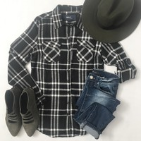 Black and Ivory Plaid Flannel Shirt-Last One! Size Small