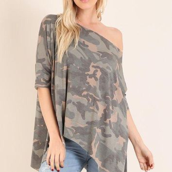 Military Camo Asymmetrical Tunic Top