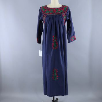 Vintage Mexican Oaxacan Embroidered Caftan Dress / Navy Blue Cotton