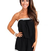 All I Need Black Strapless Romper | Monday Dress Boutique