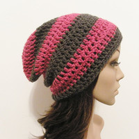 LazyDay Slouch Beanie  Berry Gray Stripes