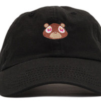 Black Kanye West Bear Embroidered Cotton Hat Baseball Cap