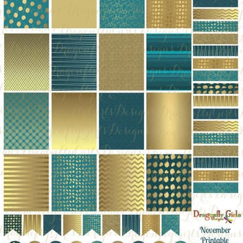 November Teal and Gold Printable Planner 48 Stickers Sheet 1 of Kit in PDF and jpeg Erin Condren Life Planner Kikkik Filofax