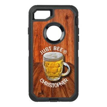 Glass Pint Beer Mug With White Head With Your Text OtterBox Defender iPhone 7 Case