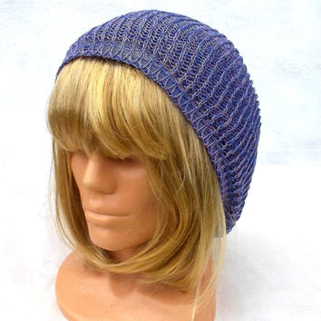 knitted cotton summer hat knit blue cap ecofriendly women's beanie knitting men's cloche colorfull slouche multicolor tam sun hat head-dress