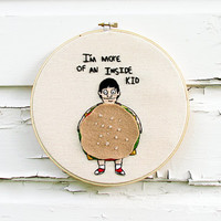 Bob's Burgers Embroidery | Gene Belcher & Burger Costume | Custom Order | 8 Inch Hoop Art | Fandom Home Decor