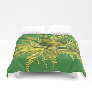 Golden Fern, floral art, green and yellow Duvet Cover by Clipso-Callipso