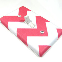 Light Switch Cover White and Pink Chevron Riley Medium Girls Nursery Decor Switch Plate Switchplate 839