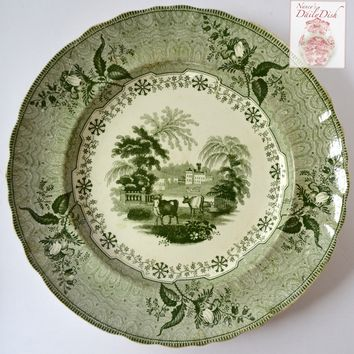 Circa 1834 Antique Park Scenery Staffordshire Green Transferware Plate Bull Cow