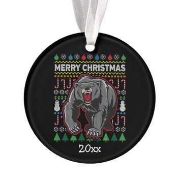 Bear Ugly Christmas Sweater Wildlife Series Ornament