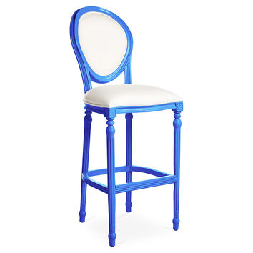 Melrose Outdoor Barstool, White/Cobalt, Outdoor Bar & Counter Stools