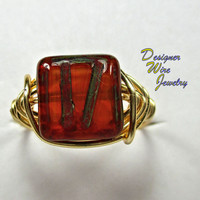 DWJ0223 Czech Pumpkin Spice Gold Wire Wrapped Ring All Sizes