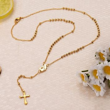 Gold Beaded Chain Rosary Necklaces