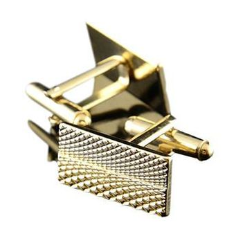 Gold Rectangle Checkered Cufflinks