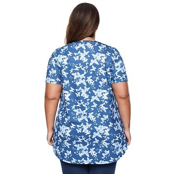 Blue Butterfly Print Pin Tuck Blouse