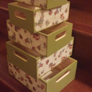 Beatrix Potter Nursery Baby Shower Gifts Nesting Boxes Decoupage Box Peter Rabbit Nursery Baby Storage Baby Shower Gift Nesting Crates