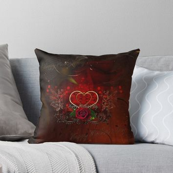 'Happy mother's day with heart and roses' Throw Pillow by nicky2342