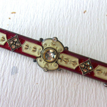 Bar Brooch CATHERINE POPESCO Art Nouveau, Crystals & Enamel, Dark Red-Gold, Vintage
