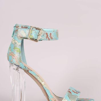 Delicious Oriental Embroidered Chunky Clear Heel