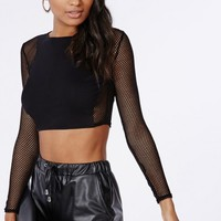 Missguided - Long Sleeve Jersey Front Fishnet Crop Top Black