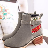 New Women Grey Round Toe Chunky Embroidery Fashion Ankle Boots
