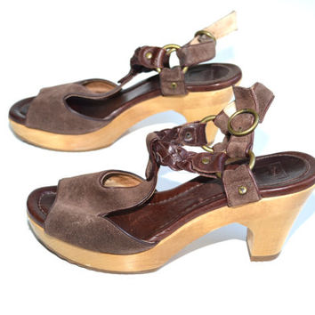 Frye Sandals Chunky Heel Sandals Brown Platform Sandals Boho Sandals Hippie Sandals Leather Sandals Strappy Sandals Size 9.5